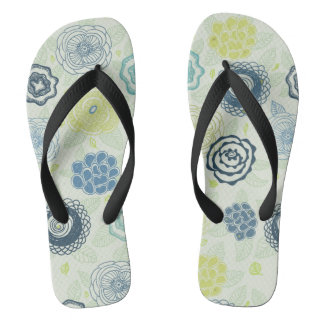 Stylish floral pattern with cute flowers flip flops