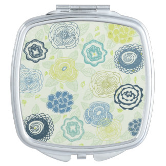 Stylish floral pattern with cute flowers makeup mirrors