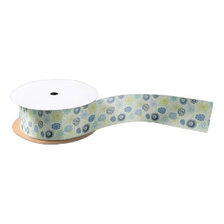 Stylish floral pattern with cute flowers satin ribbon