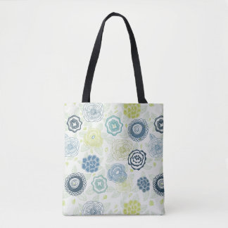 Stylish floral pattern with cute flowers tote bag