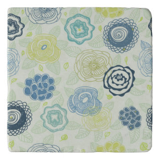 Stylish floral pattern with cute flowers trivet