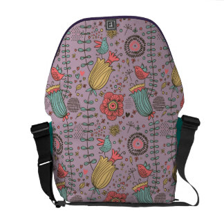 Stylish floral pattern with flowers courier bags