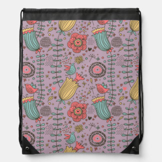 Stylish floral pattern with flowers drawstring bag