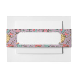Stylish floral pattern with flowers invitation belly band