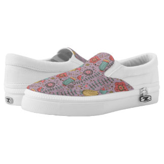 Stylish floral pattern with flowers Slip-On shoes