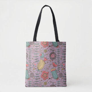Stylish floral pattern with flowers tote bag