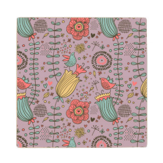Stylish floral pattern with flowers wood coaster