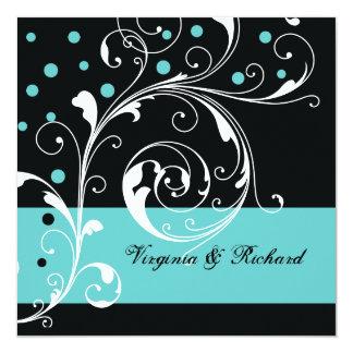 Stylish floral scrollwork black, aqua wedding card