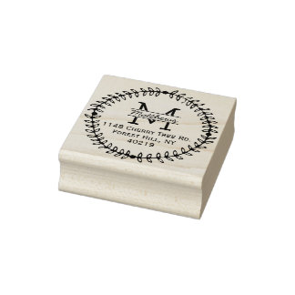 Stylish Floral Wreath Custom Monogram Rubber Stamp