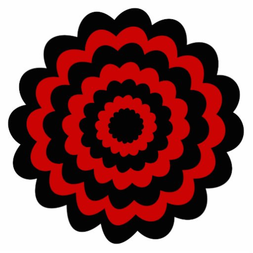 Stylish Flower in Black and Dark Red. Photo Cutouts