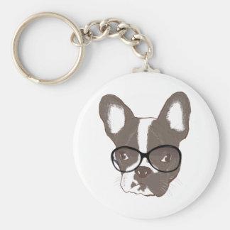 Stylish french bulldog basic round button key ring