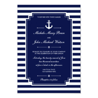 Stylish Fresh Nautical Blue White Wedding Invite