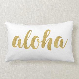 Stylish Fun Hello Aloha In Gold Decorative Lumbar Cushion