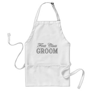 Stylish Funny Gifts First Class Groom Aprons