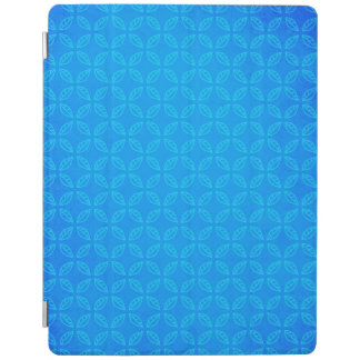 Stylish Geometric Blue Leaves Pattern iPad Cover