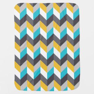 Stylish Geometric Blue Yellow Gray Pattern Swaddle Blankets