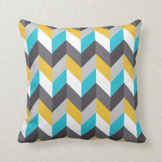 Stylish Geometric Blue Yellow Gray Pattern Throw Pillow