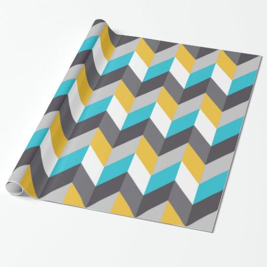 Stylish Geometric Blue Yellow Grey Pattern Wrapping Paper