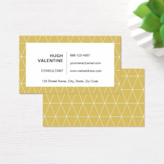 Stylish Geometric Golden Triangles Business Card