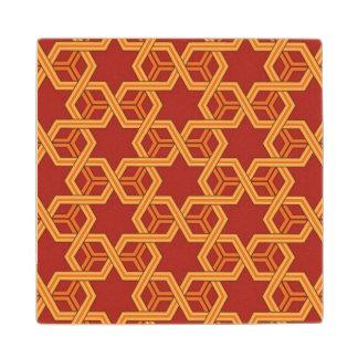 Stylish geometric ornament maple wood coaster