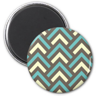 Stylish Geometric Triangles Retro Stripes Pattern 6 Cm Round Magnet