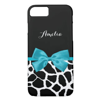 Stylish Giraffe Print and Name Girly Turquoise Bow iPhone 7 Case