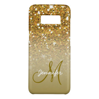 Stylish Girly Gold Glitter Custom Monogram Ombre Case-Mate Samsung Galaxy S8 Case