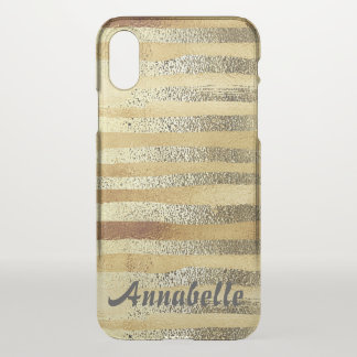Stylish Girly hand drawn gold striped personalized iPhone X Case