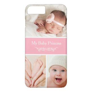 Stylish Girly Pastel Pink Baby Photo Collage iPhone 7 Plus Case