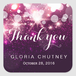 Stylish Glamour Pink Glitter Sparkles - Thank You Square Sticker
