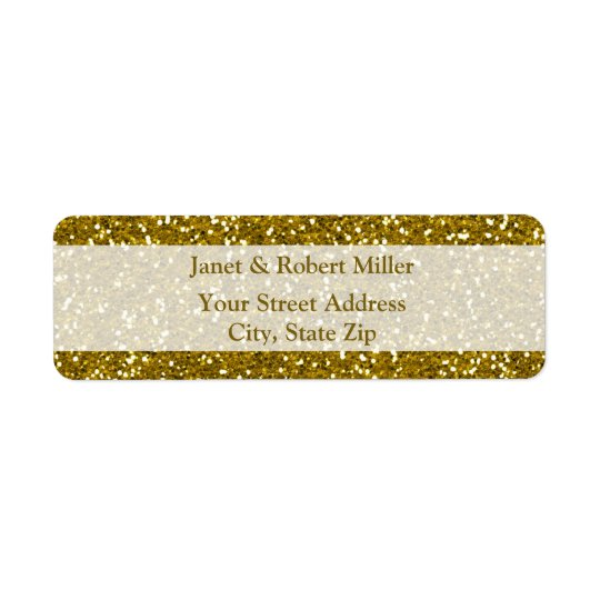Stylish Glitter Gold Return Address Label