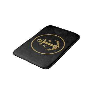 Stylish gold anchor with initials | Nautical Gifts Bath Mat