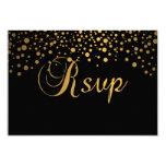 Stylish Gold Confetti Dots | Black 9 Cm X 13 Cm Invitation Card
