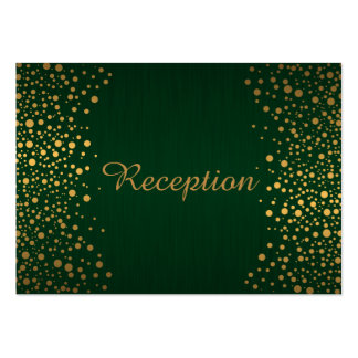 Stylish Gold Confetti Dots | Dark Green Pack Of Chubby Business Cards
