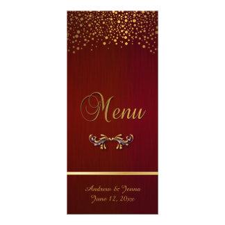 Stylish Gold Confetti Dots | Deep Dark Red 10 Cm X 23 Cm Rack Card