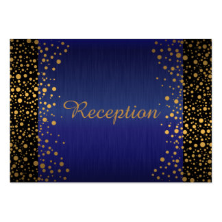 Stylish Gold Confetti Dots | Sapphire Blue Black Pack Of Chubby Business Cards