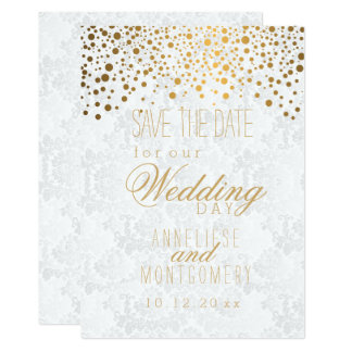 Stylish Gold Confetti Dots | White Texture Card