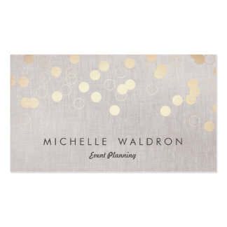 Stylish Gold Confetti Event Planner Taupe Linen Pack Of Standard Business Cards