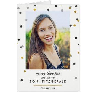 Stylish Gold Confetti Photo Graduation Thank You Card