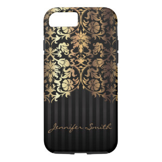 Stylish Gold Damask and Black Design Pattern iPhone 8/7 Case
