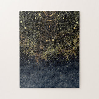 Stylish Gold floral mandala and confetti Jigsaw Puzzle