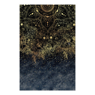 Stylish Gold floral mandala and confetti Stationery