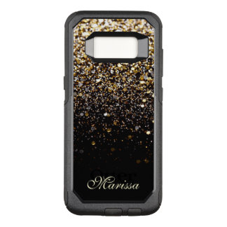 Stylish Gold Glitter Black OtterBox Galaxy 8 Case