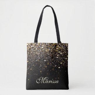 Stylish Gold Glitter Black Sparkles Tote Bag
