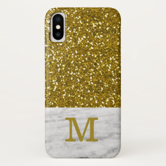 Stylish Gold Glitter Marble Texture Monogrammed iPhone X Case