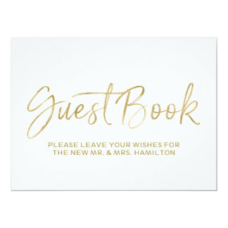 Stylish Gold Lettered Guest Book Wedding Sign 17 Cm X 22 Cm Invitation Card