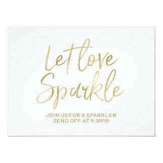 "Stylish Gold Lettered ""Let love sparkle"" Sign 17 Cm X 22 Cm Invitation Card"