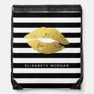 Stylish Gold Lips with Classic Black White Stripes Drawstring Backpacks