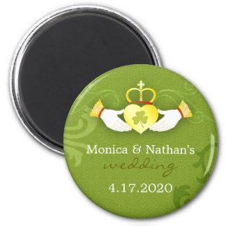 Stylish Gold n Green Irish Wedding Invitation 6 Cm Round Magnet