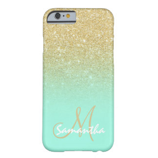 Stylish gold ombre mint green block personalized barely there iPhone 6 case